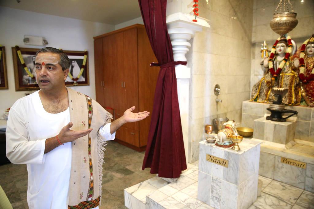 Pandit Brijesh Raval is interviewed at the Hindu Temple of Las Vegas in Las Vegas, Thursday, Dec. 13, 2018. Erik Verduzco Las Vegas Review-Journal @Erik_Verduzco