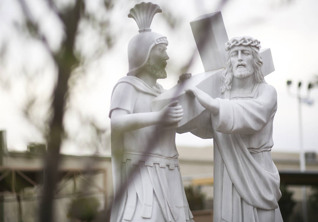 A statue of showing Jesus carrying his cross at Shrine of Our Lady of La Vang, a Vietnamese Catholic church, in Las Vegas on Friday, Dec. 14, 2018. Chase Stevens Las Vegas Review-Journal @cssteven ...
