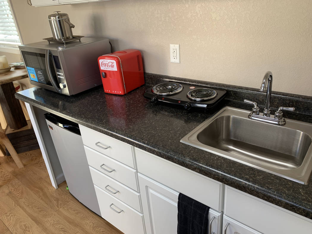 The interior of a new tiny home model on Tuesday, Dec.11, 2018, at Veterans Village II, 50 N. 21st Street in Las Vegas. The organization will be building 10 of these container homes to house veter ...