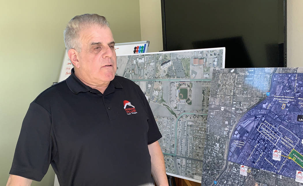Arnold Stalk of Veterans Village speaks at the unveiling of a new tiny home model on Tuesday, Dec. 11, 2018, at Veterans Village II, 50 N. 21st Street in Las Vegas. The organization will be buildi ...