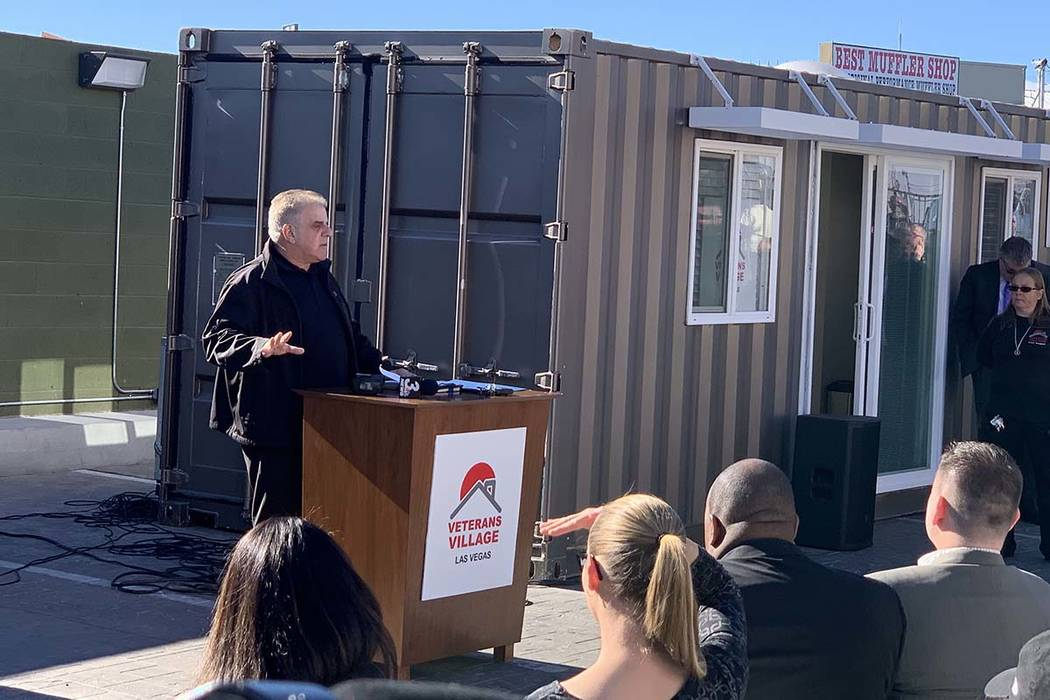Arnold Stalk speaks at the unveiling of a new tiny home model on Tuesday, Dec. 11, 2018, at Veterans Village II, 50 N. 21st Street in Las Vegas. The organization will be building 10 of these conta ...