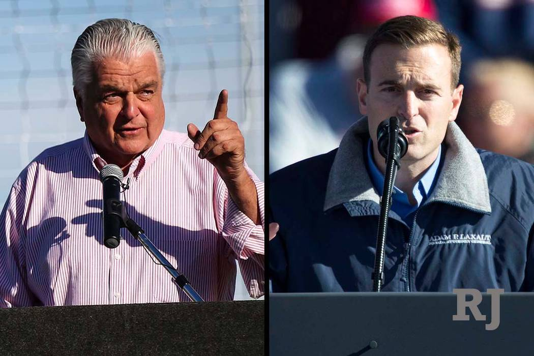 Steve Sisolak, left, and Adam Laxalt, candidates for Nevada governor (Las Vegas Review-Journal)
