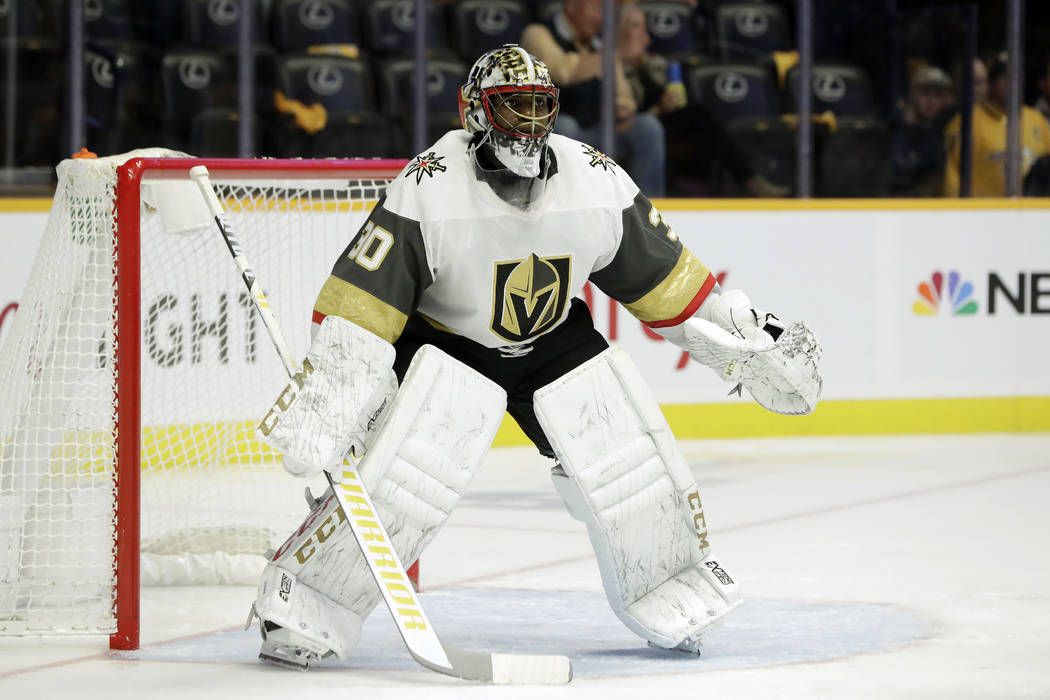 Vegas Golden Knights goaltender Malcolm Subban plays against the Nashville Predators in the second period of an NHL hockey game Tuesday, Oct. 30, 2018, in Nashville, Tenn. (AP Photo/Mark Humphrey)