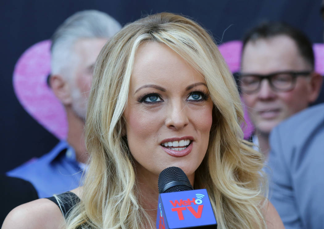 Stormy Daniels speaks during a May 23, 2018, ceremony as she receives a City Proclamation and Key to the City in West Hollywood, Calif. (AP Photo/Ringo H.W. Chiu, File)