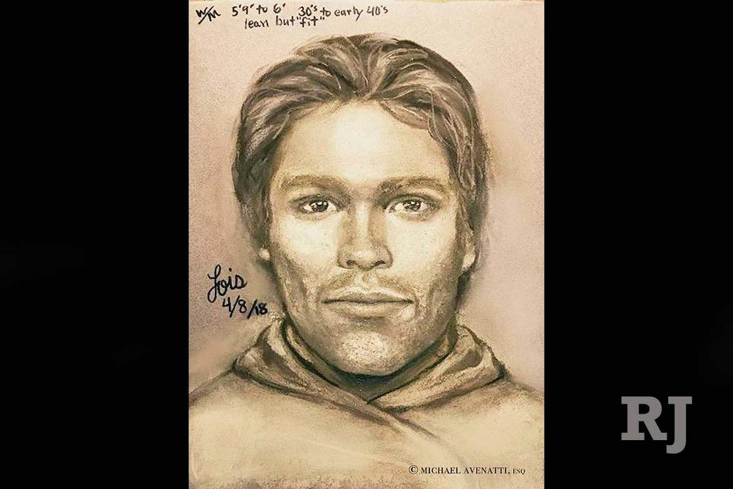 This artist's drawing released by attorney Michael Avenatti reports to show the man that the adult film actress Stormy Daniels says threatened her in a Las Vegas parking lot in 2011 to remain quie ...