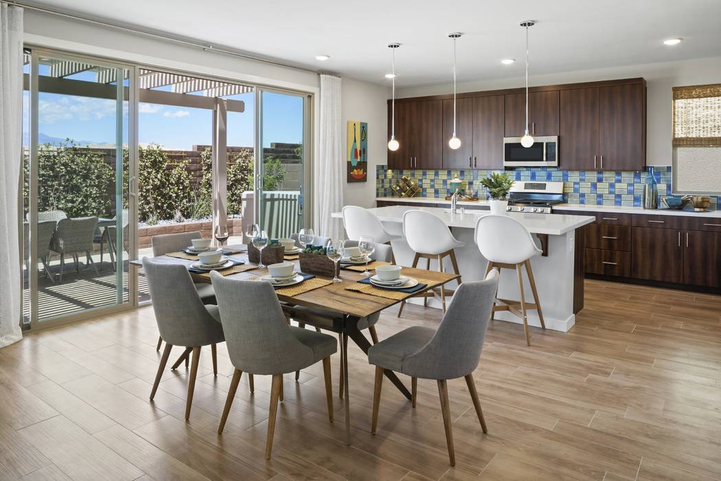 Pardee Homes' Hurry Home sales event includes an available Plan One at Indigo. Pictured here is the model home's kitchen and dining room. (Pardee Homes)
