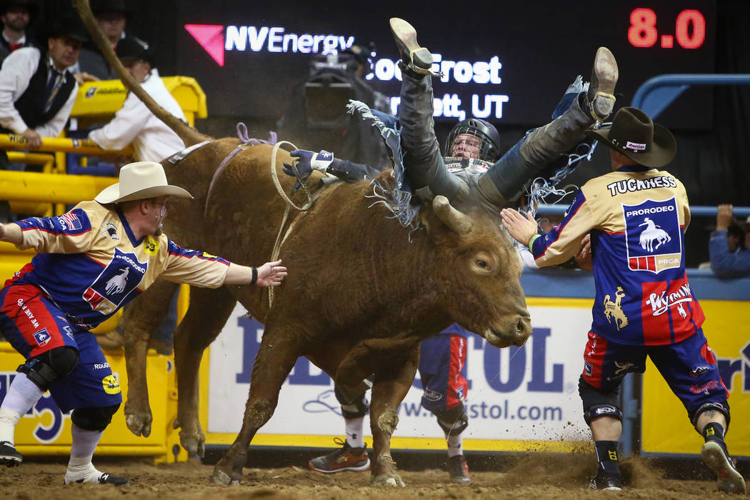 "Joe Frost of Randlett, Utah (103) struggles to stay on ""Mortimer"" while competing in bull riding during the sixth go-round of the National Finals Rodeo at the Thomas & Mack Center in ..."