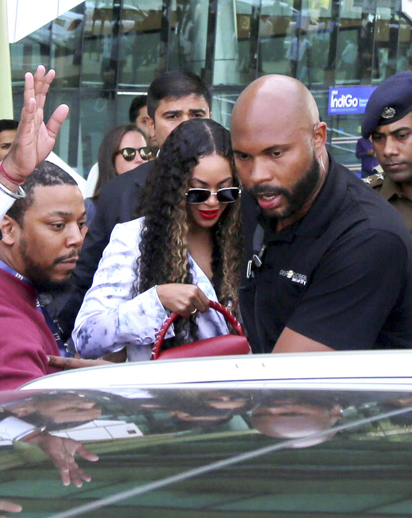 FILE- In this Sunday, Dec. 9, 2018 file photo, singer Beyonce arrives to perform at the wedding of Isha Ambani, the daughter of India's richest mogul, and Anand Piramal, the son of one of India's ...
