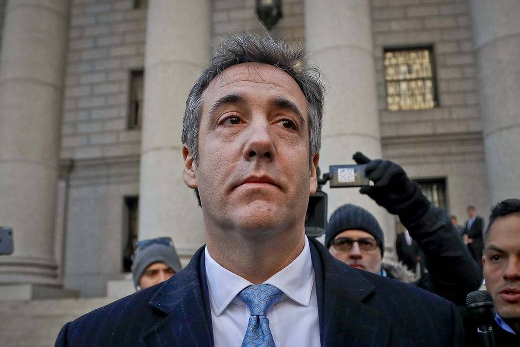 In this Nov. 29, 2018, file photo, Michael Cohen walks out of federal court in New York. The moment of reckoning has nearly arrived for Cohen, who finds out Wednesday, Dec. 12, whether his decisio ...