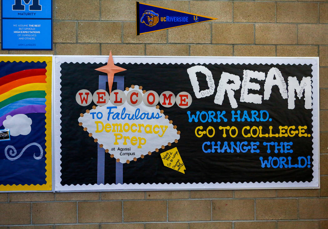Signs encouraging students to pursue college hang in the elementary school of Democracy Prep at Agassi Campus on Lake Mead Boulevard on Thursday, Feb. 8, 2018. Patrick Connolly Las Vegas Review-J ...