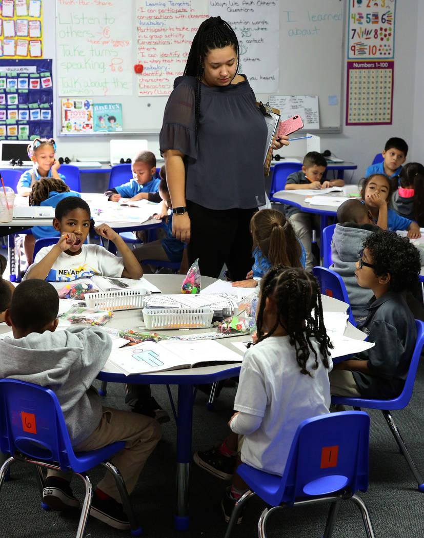 Kindergarten teacher Harris Alexa speaks to her students during a class at Nevada Rise Academy on Tuesday, Dec. 11, 2018, in Las Vegas. Bizuayehu Tesfaye Las Vegas Review-Journal @bizutesfaye