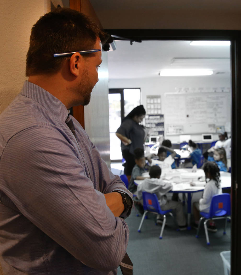 Justin Brecht, founder and executive director of Nevada Rise, watches as kindergarten teacher Harris Alexa watches her students coloring at Nevada Rise Charter School on Tuesday, Dec. 11, 2018, in ...