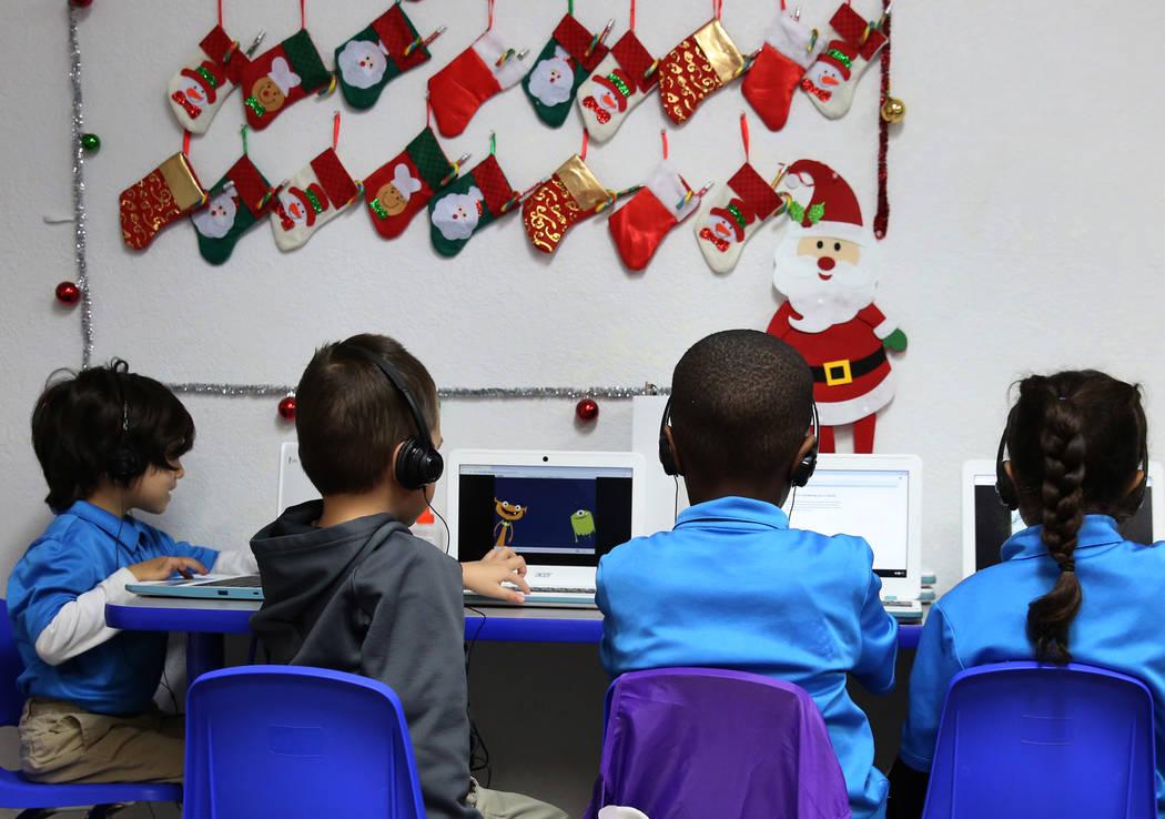 Kindergarten students work on their laptops at Nevada Rise Academy on Tuesday, Dec. 11, 2018, in Las Vegas. Bizuayehu Tesfaye Las Vegas Review-Journal @bizutesfaye