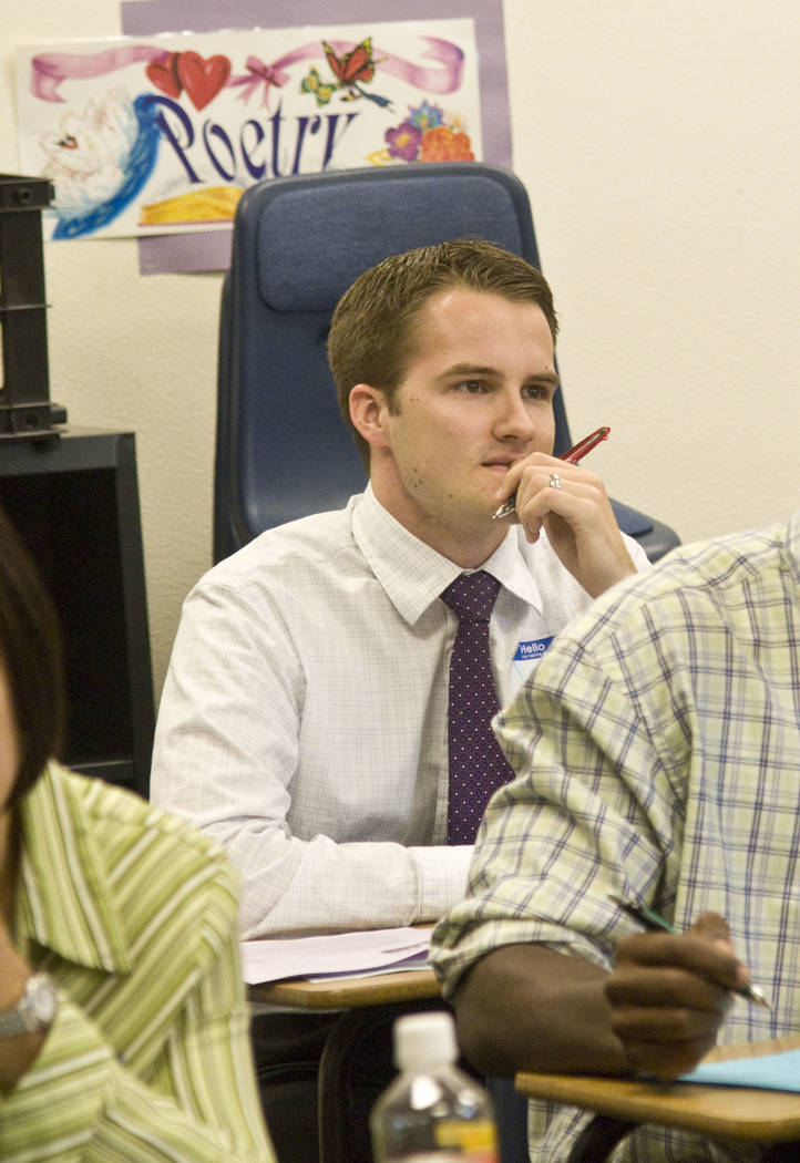 Clark County School District teacher David Blodgett listens during an orientation class for new CCSD teachers at Coronado High School, Thursday, Aug. 13, 2009. Blodgett is scheduled to begin teach ...