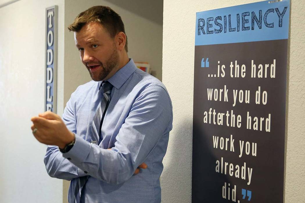 Justin Brecht, founder and executive director of Nevada Rise, speaks during an interview with the Las Vegas Review-Journal at Nevada Rise Charter School on Tuesday, Dec. 11, 2018, in Las Vegas. Bi ...