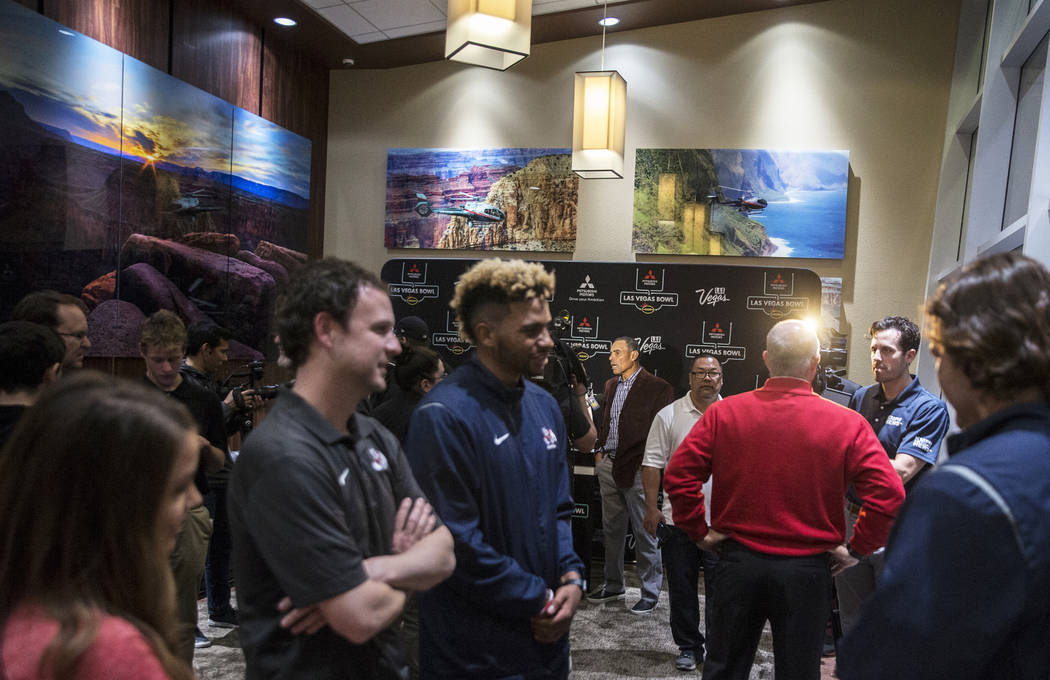 Players and coaches from Arizona State and Fresno State talk to the media on Monday, Dec. 11, 2018, at Maverick Helicopters, in Las Vegas. Benjamin Hager Las Vegas Review-Journal