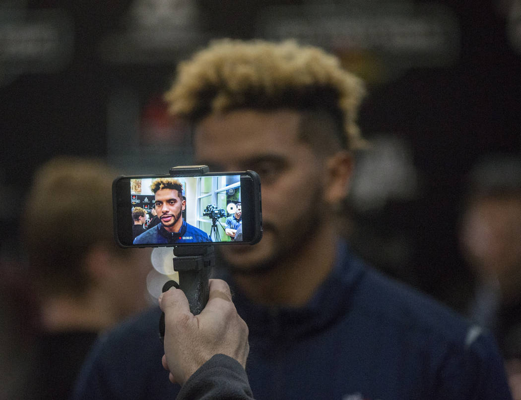 Fresno State quarterback Marcus McMaryion talks with the media on Monday, Dec. 11, 2018, at Maverick Helicopters, in Las Vegas. Benjamin Hager Las Vegas Review-Journal
