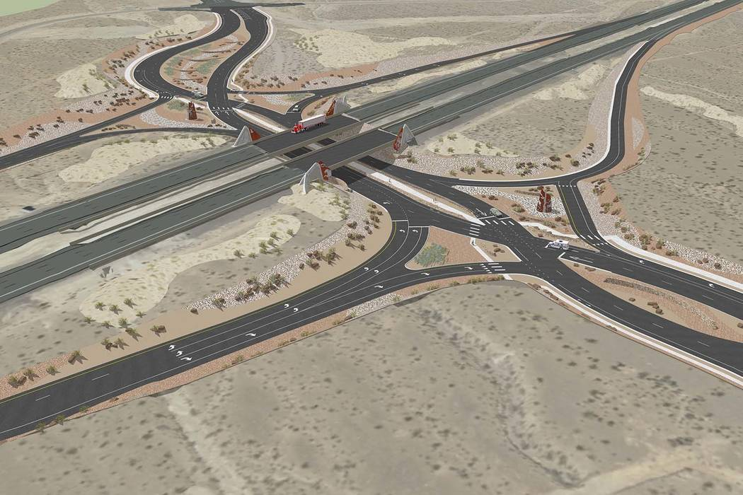 A rendering showing a planned diverging diamond interchange at Kyle Canyon Road, that temporarily shifts traffic to the left side of the road, thereby keeping traffic flowing through two pairs of ...