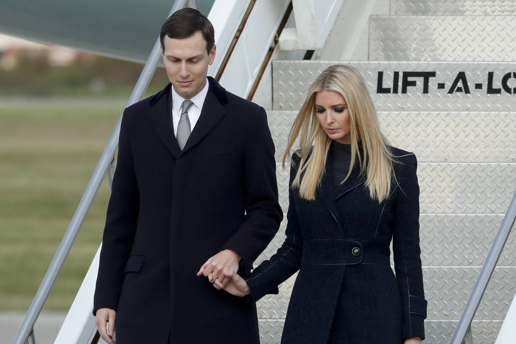FILE - In this file photo, Ivanka Trump, right, departs Air Force One with Jared Kushner in Coraopolis, Pa., Oct. 30, 2018. An Associated Press investigation found President Donald Trump's daug ...