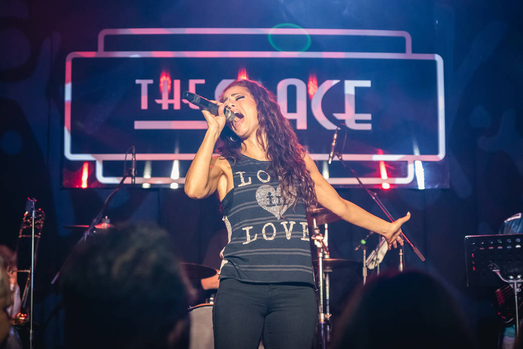 Las Vegas singer Janien Valentine is shown performing at Mondays Dark at the Space, a twice-monthly charity event celebrating its fifth anniversary Monday night at the Joint at the Hard Rock Hotel ...