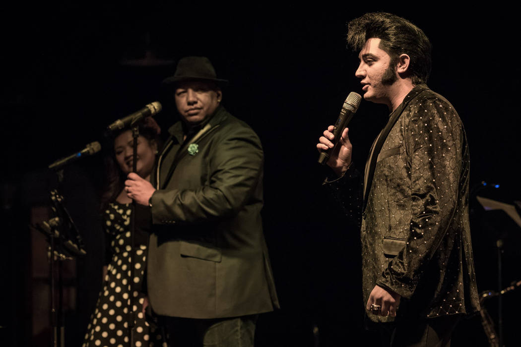Jassen Allen, producer of Mondays Dark performances at the Space, is shown with Elvis Tribute artist Justin Shandor. The twice-monthly charity event celebrating its fifth anniversary Monday night ...