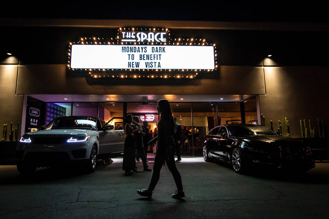 A look at the marquee of Mondays Dark at the Space, a twice-monthly charity event celebrating its fifth anniversary Monday night at the Joint at the Hard Rock Hotel. (Ryan Hafey)