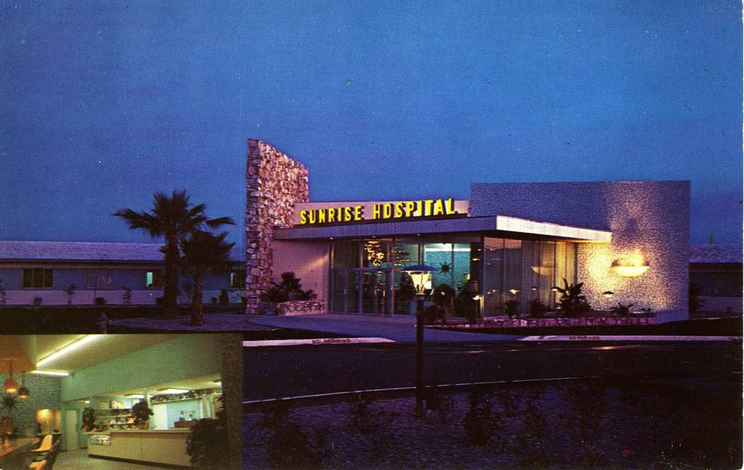 Color postcard of Sunrise Hospital and Medical Center circa 1958 or 1959. The hospital celebrates its 60th anniversary on Dec. 15, 2018 (Nevada State Museum, Las Vegas).