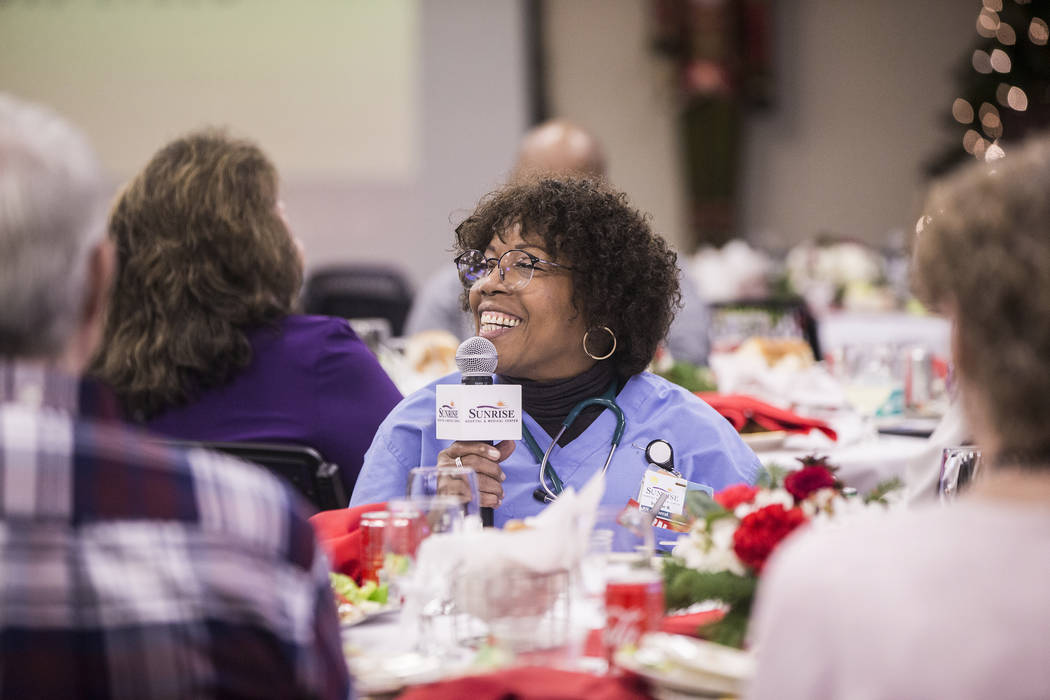Yvonne Romain Piercea, a registered nurse, speaks during a 60th anniversary luncheon for Sunrise Hospital and Medical Center on Wednesday, Dec. 12, 2018, in Las Vegas. Benjamin Hager Las Vegas Rev ...