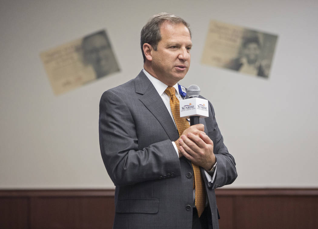 Todd P. Sklamberg, CEO of Sunrise Hospital and Medical Center, speaks during a 60th anniversary luncheon on Wednesday, Dec. 12, 2018, at Sunrise Hospital, in Las Vegas. Benjamin Hager Las Vegas Re ...