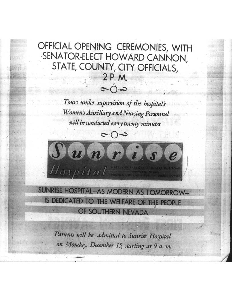 An advertisement for the opening of Sunrise Hospital ran in the Las Vegas Review-Journal on Dec. 14, 1958. The hospital celebrates its 60th anniversary on Dec. 15, 2018 (Nevada State Museum, Las V ...