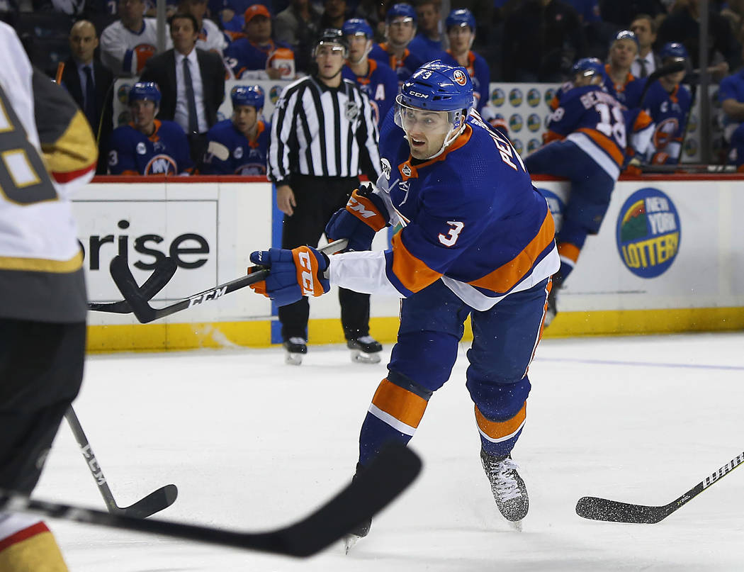 New York Islanders defenseman Adam Pelech (3) scores goal against the Vegas Golden Knights during the second period of an NHL hockey game, Wednesday, Dec.12, 2018, in New York. (AP Photo/Noah K. M ...