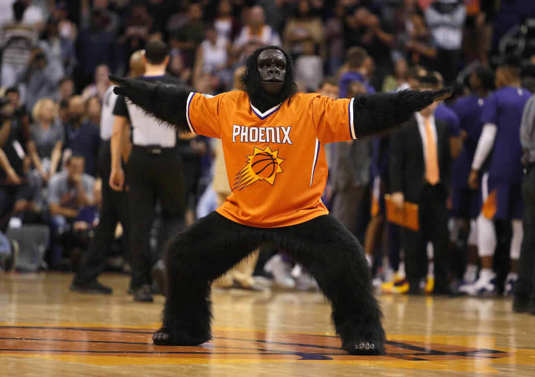 The Phoenix Suns mascot The Gorilla performs in the second half during an NBA basketball game against the Memphis Grizzlies, Sunday, Nov. 4, 2018, in Phoenix. The Suns defeated the Grizzlies 102-1 ...