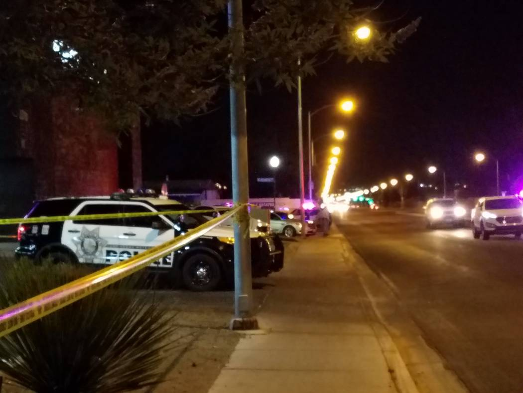 A Metropolitan Police Department vehicle is parked not far from the scene of an officer-involved shooting Saturday night on Big Sur Drive in the east Las Vegas Valley. (Mike Shoro/Las Vegas Review ...