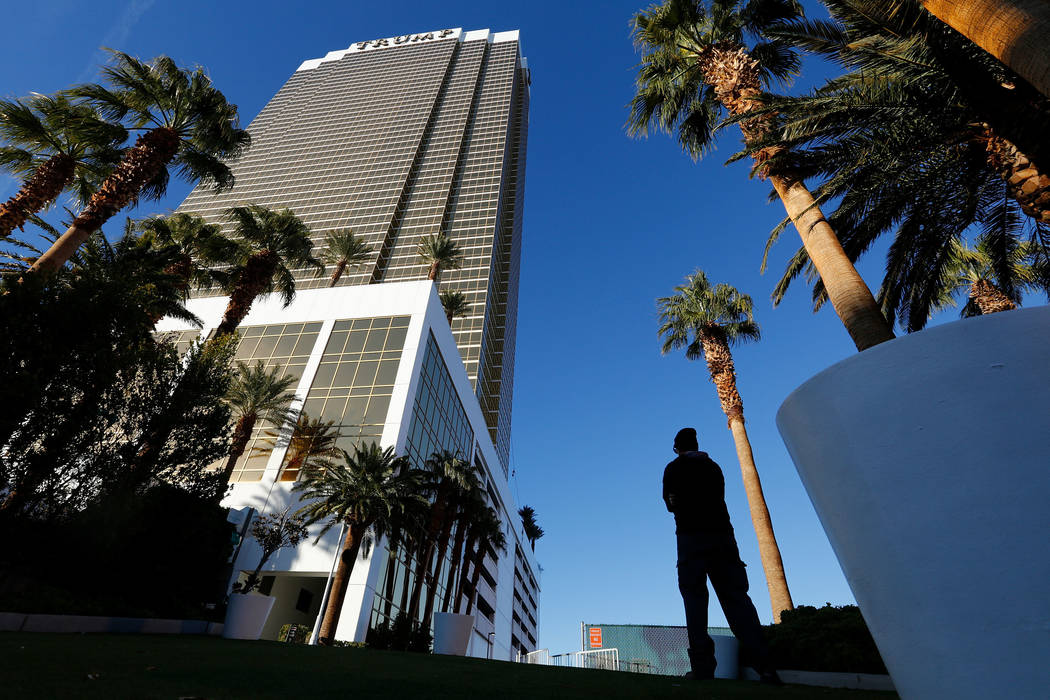 Trump International hotel is seen in Las Vegas, Wednesday, Dec. 12, 2018. A man washing windows outside the hotel fell to his death Wednesday afternoon. Chitose Suzuki Las Vegas Review-Journal @ch ...