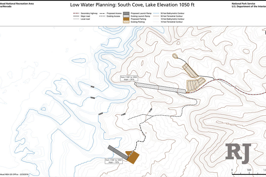 A map shows the current boat launch ramp (top) and the planned location of a new, low-water ramp at South Cove, at the eastern end of Lake Mead. (National Park Service)