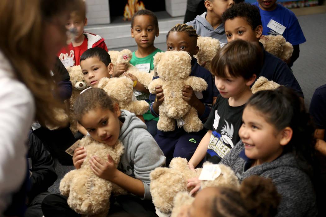Students wait to build their stuffed bears at the Build-A-Bear-Workshop at Doris Reed Elementary School in Las Vegas, Thursday, Dec. 13, 2018. Rachel Aston Las Vegas Review-Journal @rookie__rae