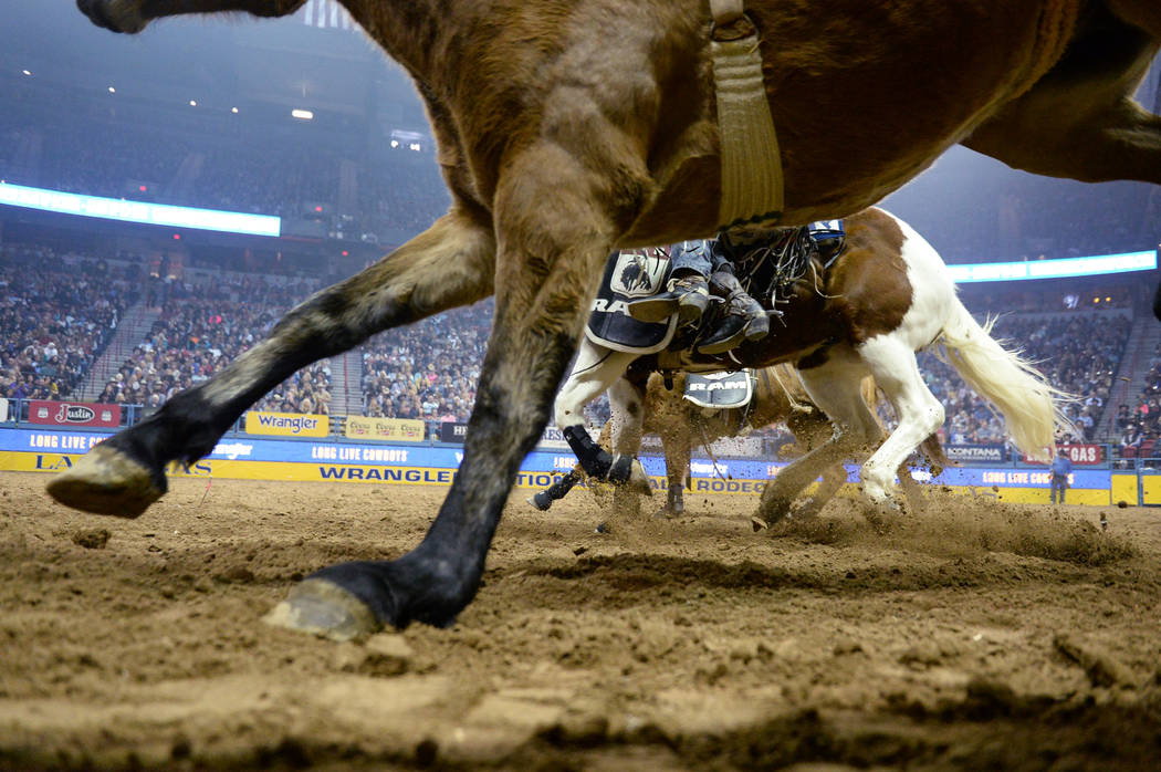 A line of horses run through the arena during the sixth go-round of the National Finals Rodeo at the Thomas & Mack Center in Las Vegas, Tuesday, Dec. 11, 2018. Caroline Brehman/Las Vegas Revie ...