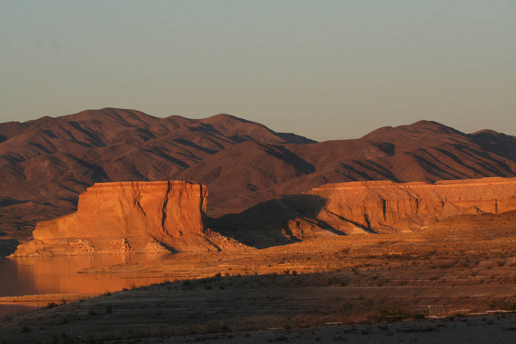 The Temple Bar formation on Lake Mead National Recreation Area, seen at sunset from the Temple Bar Marina area. (Deborah Wall/Las Vegas Review-Journal)