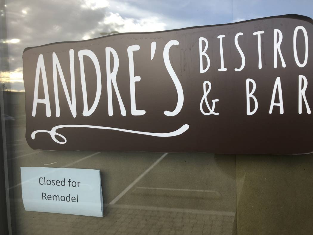 The sign on the door of Andre's Bistro & Bar on Tuesday.