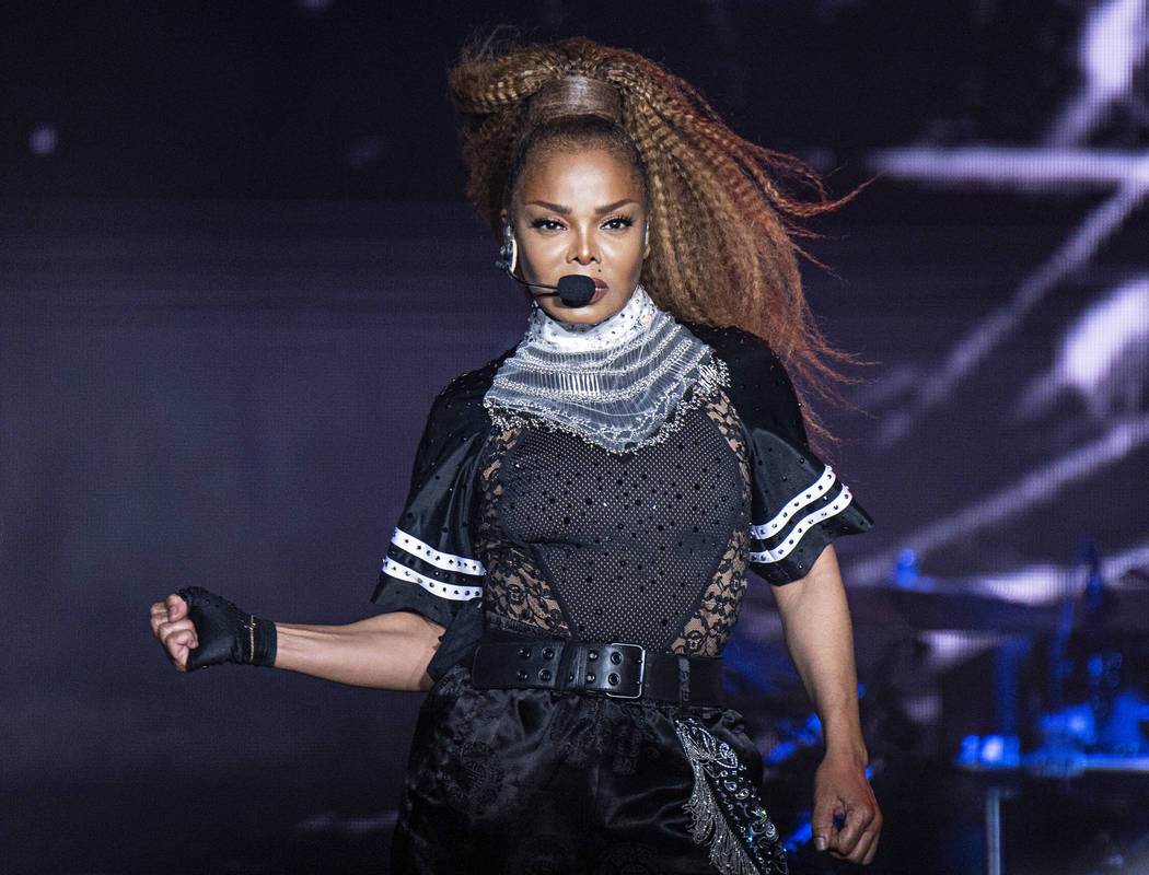 In this July 8, 2018 file photo, Janet Jackson performs at the 2018 Essence Festival in New Orleans. Jackson will join Def Leppard, Stevie Nicks, Radiohead, the Cure, Roxy Music and the Zombies as ...
