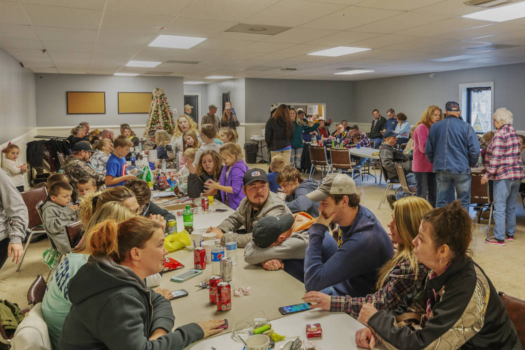 Family and friends await word of the search teams efforts in finding Cody Beverly, Kayla Williams and Erica Treadway at the Salamy Memorial Center in Whitesville, W.Va., on Wednesday, December 12, ...