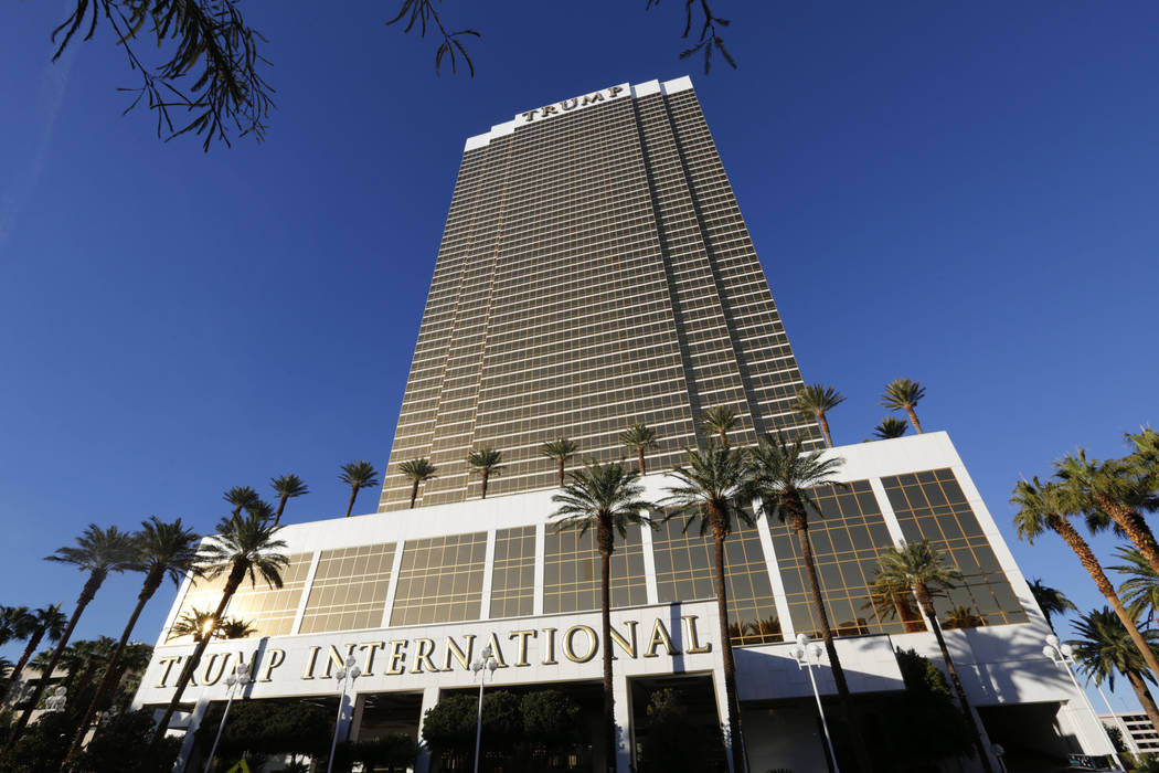 Trump International hotel is seen in Las Vegas, Wednesday, Dec. 12, 2018. A man washing windows outside the hotel fell to his death Wednesday afternoon. (Chitose Suzuki/Las Vegas Review-Journal) @ ...