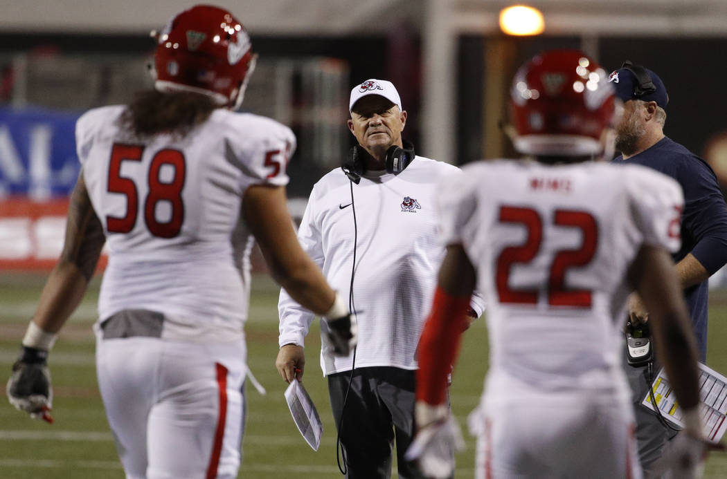 Fresno State Bulldogs head coach Jeff Tedford looks at players after a play against the UNLV Rebels during the second half of an NCAA college football game Saturday, Nov. 3, 2018, in Las Vegas. (A ...