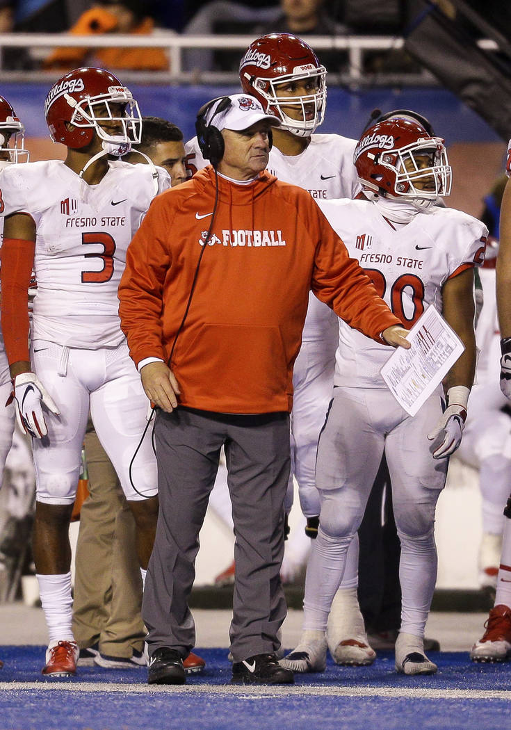 Fresno State head coach Jeff Tedford in the second half against Boise State in an NCAA college football game, Friday, Nov. 9, 2018, in Boise, Idaho. Boise State won 24-17 over Fresno State. (AP Ph ...