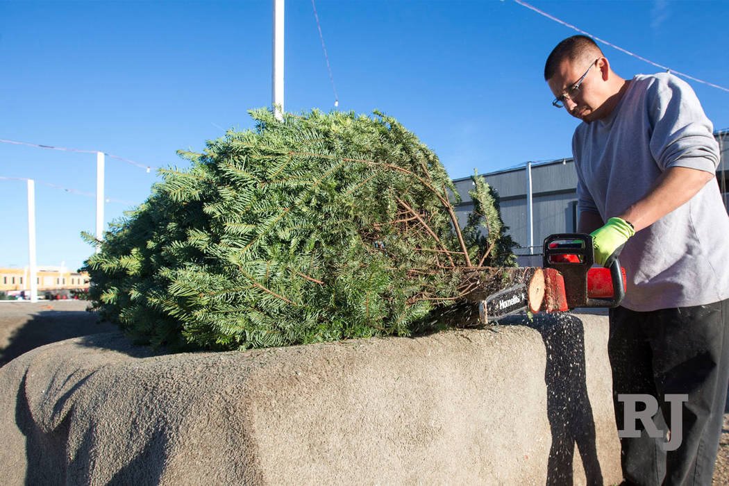 Mike Flores cleans up a tree stem in preparation for a sale at Rudolph's Christmas Trees located at 510 S. Rampart Boulevard in Las Vegas on Wednesday, Dec. 12, 2018. Richard Brian Las Vegas Revie ...