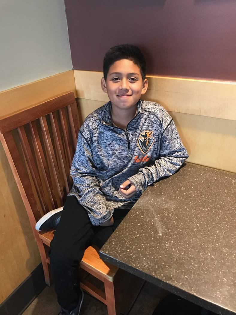 Jayden Zelaya-Ramos, 10, on May 1, 2018. Jayden had just finished describing how his fifth grade teacher Jason Wright, the husband of CCSD Board president Deanna Wright, kicked and yanked him at G ...