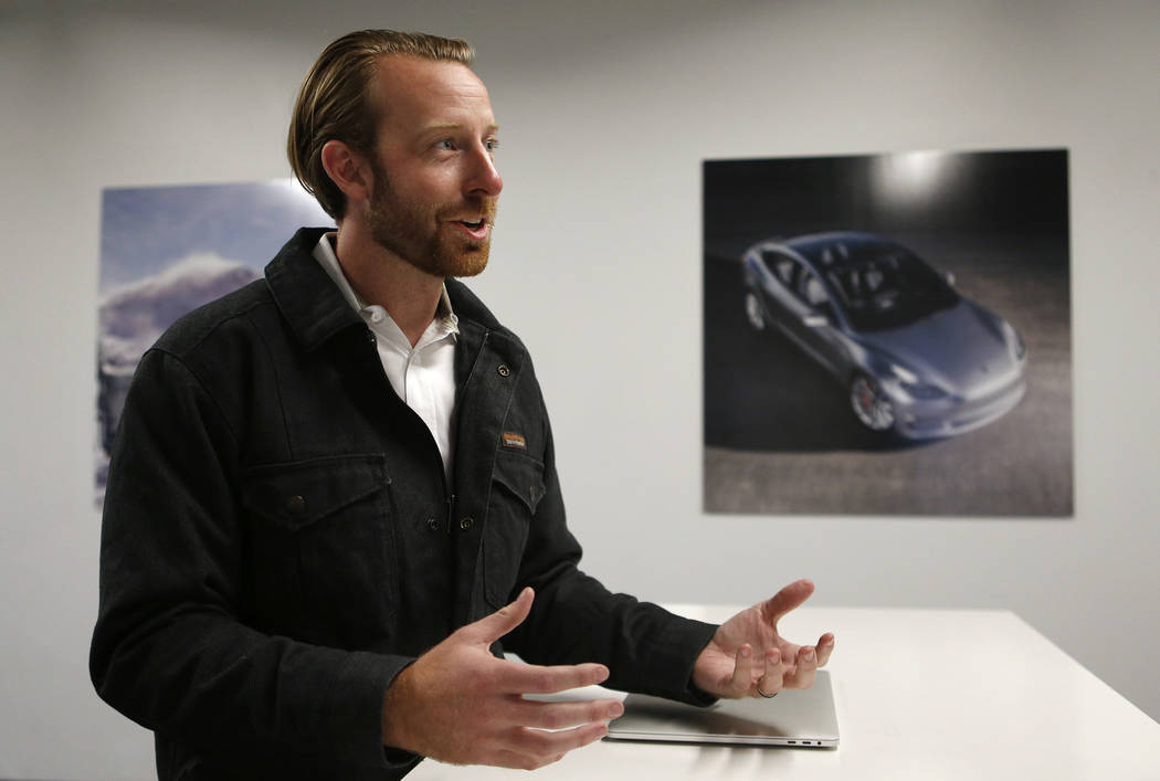 Chris Reilly, Workforce Development and Education Programs lead, talks about the Tesla Gigafactory, east of Reno, Nev., on Tuesday, Dec. 4, 2018. Cathleen Allison Special to Las Vegas Review-Journal