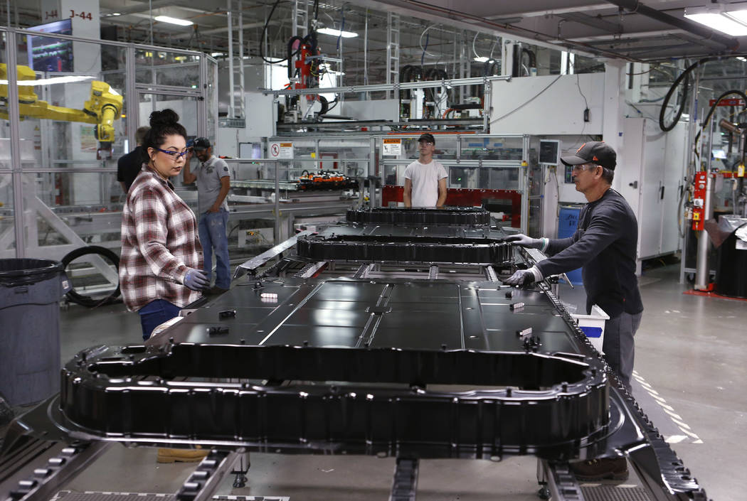More than 7,000 people work at the Tesla Gigafactory, east of Reno, Nev., on Tuesday, Dec. 4, 2018. Cathleen Allison Special to Las Vegas Review-Journal