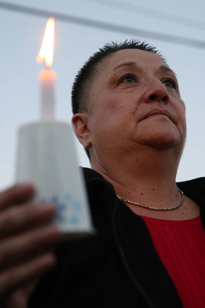 Mindy Torres of HELP of Southern Nevada, attends the 23rd Annual Homeless Candlelight Vigil at the CARE Complex in Las Vegas, Thursday, Dec. 13, 2018. Erik Verduzco Las Vegas Review-Journal @Erik_ ...