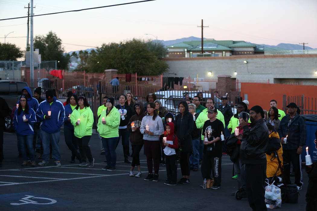 People attend the 23rd Annual Homeless Candlelight Vigil at the CARE Complex in Las Vegas, Thursday, Dec. 13, 2018. Erik Verduzco Las Vegas Review-Journal @Erik_Verduzco